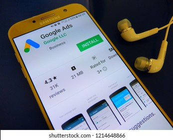 Bangkok, Thailand. October 26, 2018 - google ads application on smartphone screen. google ads app is for viewing campaign stats by google ads customers on real-time basis.