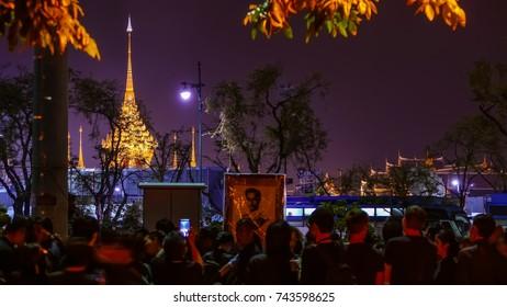 BANGKOK, THAILAND - OCTOBER 26: Crowd of people visit  The Royal Crematorium of His Majesty King Bhumibol Adulyadej at Sanam Luang, Bangkok , Thailand on October 26, 2017