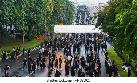 BANGKOK, THAILAND - OCTOBER 26: People walked across Phra Pinklao bridge to visit  The Royal Crematorium of His Majesty King Bhumibol Adulyadej at Sanam Luang, Bangkok , Thailand on October 26, 2017