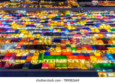 Bangkok, Thailand - October 27, 2017: Night view of the Train Night Market Ratchada. Train Night Market Ratchada, also known as Talad Nud Rod Fai, is a new flea market place at Bangkok.