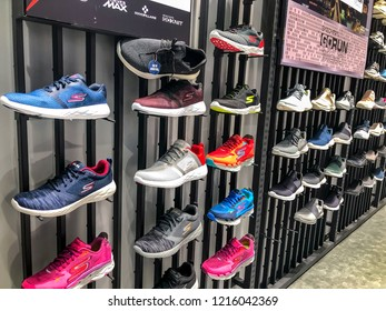 Bangkok, Thailand - October 27, 2018: Skechers sport running shoe of store shelf at Skechers shop, Central Ladprao shopping mall.
