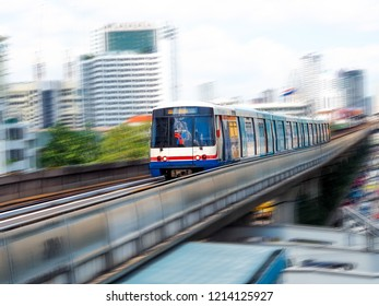 Bangkok, Thailand : October 27,2018 - BTS skytrain arriving to Phayathai Station