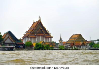 Bangkok, Thailand - October 28, 2013: Along the Chao Phraya River on the right riverbank.