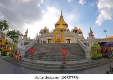 Bangkok, Thailand, October 28, 2014 - Wide angle exterior view of the Wat Traimit in Bangkok