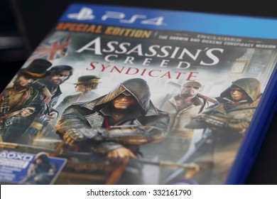BANGKOK, THAILAND - OCTOBER 28, 2015: The New Assassins Creed Syndicate game on PS4 Console on October 27,2015. in Bangkok Thailand.
