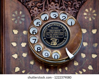 Bangkok, THAILAND - October 28, 2018 : Classic Antique Telephone, Vintage old telephone at Antique Market.