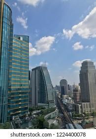 BANGKOK, THAILAND - OCTOBER 29, 1018: Bangkok City View around Sukhumvit road, main business area