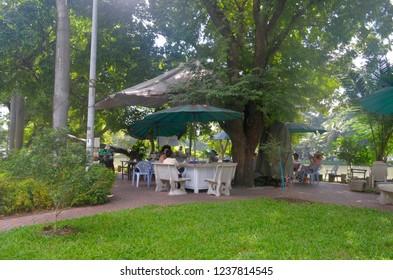 Bangkok, Thailand - October 29, 2014: A little bar in the quiet Lumpini Park.