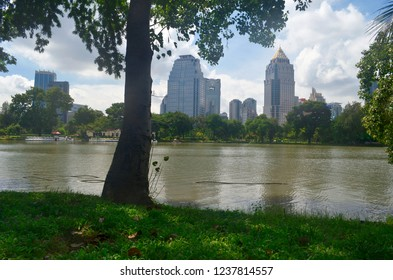 Bangkok, Thailand - October 29, 2014: The quiet Lumpini Park with skyscrapers in the background.