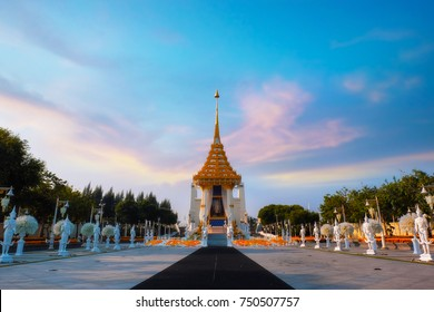 BANGKOK, THAILAND - OCTOBER 29 2017: The replica of royal crematorium of His Majesty late King Bhumibol Adulyadej built for the royal funeral at King Rama I Park nearby Rama I memorial bridge