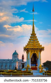 BANGKOK, THAILAND - OCTOBER 29 2017: The replica of royal crematorium of His Majesty late King Bhumibol Adulyadej built for the royal funeral at The Royal Plaza with King Chulalongkorn Monument