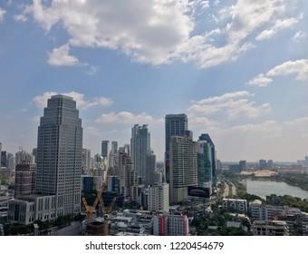 BANGKOK, THAILAND - OCTOBER 29, 2018: Bangkok city view around Sukhumvit, main business area