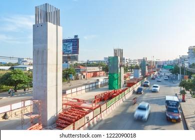 BANGKOK, THAILAND - October 29, 2018: The construction site of metropolitan rapid transit (MRT) orange line project run from Minburi distic to Huai Khwang distic (Thailand Cultural Centre)