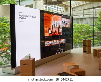 Bangkok, Thailand - October 29, 2020: The big screen monitor show the iMovie training session in Today at Apple at Central Apple Store.