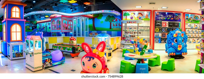 BANGKOK, THAILAND - OCTOBER 29: Children's playpen and the toy department empties out as it approaches closing hours in The Mall Bangkhae in Bangkok on October 29, 2017.