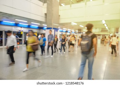 BANGKOK, THAILAND - October 29: MRT subway station on October 29,2018 in Bangkok, Thailand. Blurred image of passenger walk on the floor in rush hour at MRT subway station Bangkok Thailand.