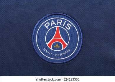 BANGKOK, THAILAND -OCTOBER 3, 2015: the logo of Paris Saint Germain football club on an official jersey on October 3, 2015 in Bangkok Thailand.