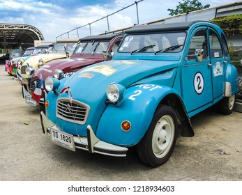Bangkok, Thailand - October 3, 2018 : The Citroen 2CV Museum of Edwin Groen in the Netherlands with a collection of heritage vintage oldtimers Citroen 2CV. in Bangkok, Thailand