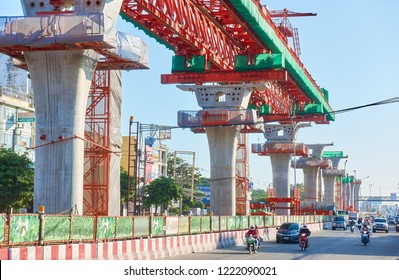 BANGKOK, THAILAND - October 30, 2018: The construction site of metropolitan rapid transit (MRT) orange line project run from Minburi distic to Huai Khwang distic (Thailand Cultural Centre)