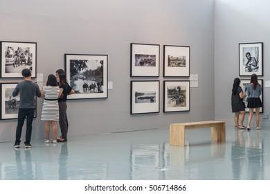 BANGKOK, THAILAND - OCTOBER 30: People visit Bangkok Art & Culture Centre art gallery in Bangkok. It is largest art gallery in Bangkok, on OCTOBER 30, 2016 in BANGKOK, THAILAND.