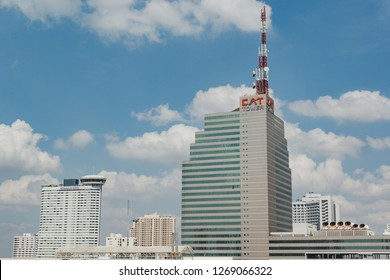 Bangkok, Thailand - October 31, 2015: CAT Tower on a cloudy day. CAT is an ISP who provide international internet gateway in Thailand