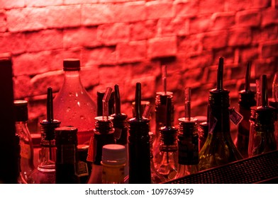 BANGKOK, THAILAND - OCTOBER 31, 2017: a shelf full of alcoholic bottles as a silhouette of a famous bar