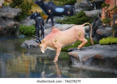 Bangkok, Thailand - October 31, 2017 : Animals and gods Himmapan in The Royal Crematorium for King Bhumibol at Sanam Luang prepared to be used as The royal funeral Cremation Ceremony Pra May Ru Maat