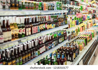 BANGKOK THAILAND - OCTOBER 31, 2018 : many products Beer bottles for sale on the shelves in supermarket at Bangkok ,selective focus