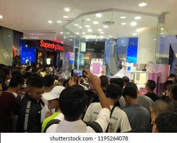 Bangkok, Thailand : October, 4 2018 - BNK48, the pop idol group in Thailand with fanclub gathering in front of digital live studio at Emquartier
