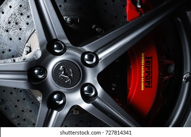 BANGKOK, THAILAND - OCTOBER 5, 2012: Carbon Ceramic brakes installed in Ferrari 458 Italia