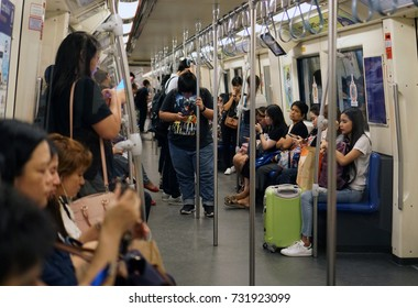 Bangkok Thailand - October 6, 2017: The passenger riding the MRT subway train, Many people use subway to save time, Transportation of the Bangkok Mass Rapid Transit
