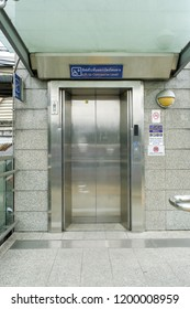 Bangkok, Thailand - October 6, 2018 : Accessible Elevator with sign and marble structure aisle, nobody, Elevator for mothers and children and physically disabled people in wheelchairs.