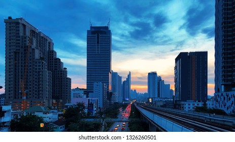 BANGKOK, THAILAND, OCTOBER 6, 2018: There are many high rise condominiums along the train track heading to the central area.