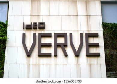 BANGKOK, THAILAND - OCTOBER 6, 2018: Ideo Verve sign on the street of Asian metropolis.