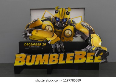Bangkok, Thailand - October 7, 2018: Standee of Movie Bumblebee displays at the theater