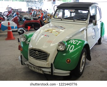 Bangkok, Thailand - October 7, 2018 : The Citroen 2CV Museum of Edwin Groen in the Netherlands with a collection of heritage vintage oldtimers Citroen 2CV. in Bangkok, Thailand