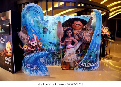 Bangkok, Thailand - October 8, 2016: Standee of the animation movie Moana at the theater