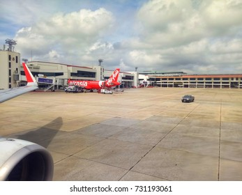 Bangkok, Thailand October 9, 2017 Don Mueang Airport is home to many domestic airlines, including AirAsia Nok Air.