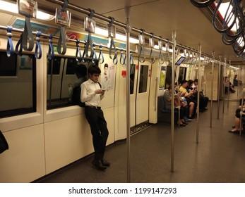 Bangkok Thailand - October 9, 2018: The passenger riding the MRT subway train, Many people use subway to save time, Transportation of the Bangkok Mass Rapid Transit