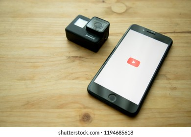 Bangkok. Thailand. October4, 2018   : YouTube on the screen. iPhone was created and developed by the Apple inc.
