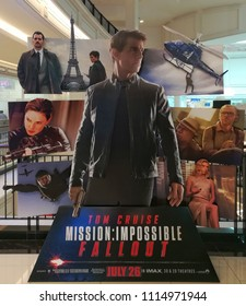 Bangkok, Thailand on 10 June 2018-Standee of an action spy film Mission Impossible–Fallout display at the cinema to promote the show.