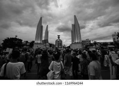 In Bangkok, Thailand on 22 May 2016 New Democracy Movement protest the military government. On the occasion of the anniversary 2 years of coup in Thailand at The Democracy Monument.