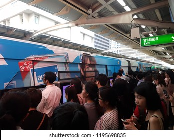 Bangkok, Thailand on 3 October, 2018.  There is a lot of people are waiting for BTS at Chong Non Si station after the BTS has problem and ask the passenger to leave the BTS and waiting for next one.