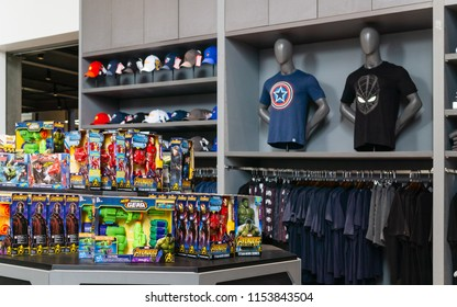 Bangkok, THAILAND. – On August 11, 2018. - Shop at The marvel experience superstore in Bangkok Thailand.  The marvel experience superstore is a retail store for a fan of Marvel Superheroes comics.