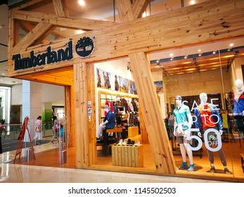 BANGKOK, THAILAND. – On July 24, 2018. – Timberland is s an American manufacturer and retailer of outdoors wear with a focus on footwear, image showing a design timber shopfront store.