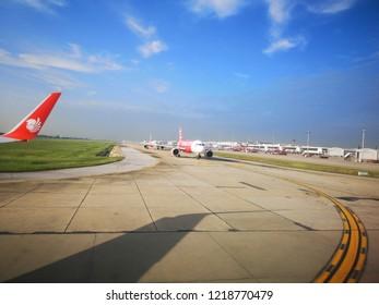 Bangkok Thailand on October 27, 2018:  plane was queuing on runaway