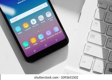 BANGKOK THAILAND : Samsung galaxy A6+ launch on may 15 ,2018 Bangkok ,Thailand