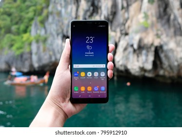 BANGKOK THAILAND : samsung galaxy A8+ (2018) with waterproof  launch on january 16 ,2018 bangkok ,thailand