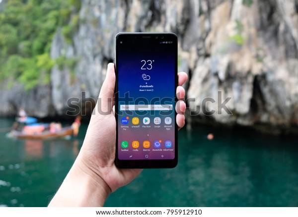 brand new 858a0 a81c1 Bangkok Thailand Samsung Galaxy A8 2018 Stock Photo (Edit Now) 795912910