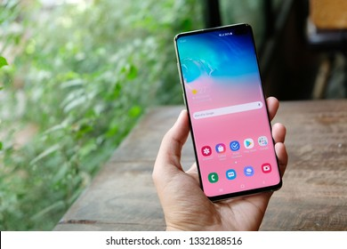 BANGKOK THAILAND : Samsung launch The New Galaxy Samsung Galaxy S10+ on Febuary 25 ,2019 bangkok ,thailand